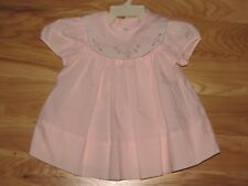 VINTAGE GIRL BABY TOGS PINK DRESS POLYESTER COTTON FLOWER FLORAL EMBROIDERY 6-9