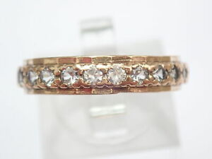 Impressive 9ct Gold Cubic Zirconia Full Eternity Ring Size Q- 2.8gms #47