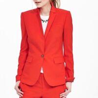 NWT Banana Republic Valiant Poppy Red - Orange One Button Blazer Jacket Size 2P