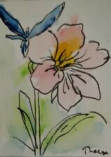 Original ACEO or ATC watercolor - Pink Flower - Miniature