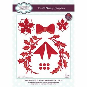 Creative expressions festive collection-decorative holly accents die - CLEARANCE