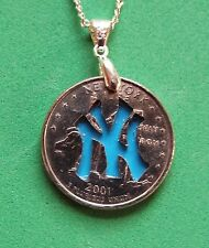Hand Cut New York Quarter with the Yankee Logo made into a Necklace