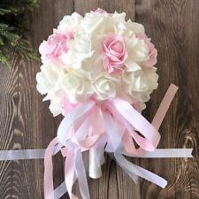 White&Pink Foam Rose Bridesmaid Bouquet Light-weight Wedding Bride Toss Flower