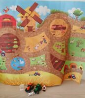 Farm Play Mat & Tractors Figure Floor Table Fabric Pretend Play - NEW