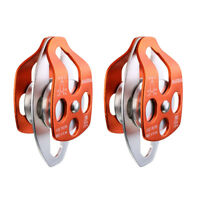 2Pcs CE Certified 32KN Twin Sheave Rope Pulley for 15mm Rope Rescue Lifting