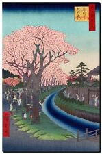 Vintage Japanese Art CANVAS PRINT Hiroshige Cherry Blossums River Tama A3