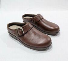 SAS Clog Womens Slip On Mules Brown Leather TriPad Comfort Shoes Sz 8 M