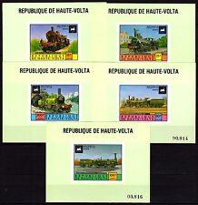 Upper Volta / Burkina Faso - 1975 Locomotives - Mi. 557-61 proofs MNH