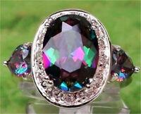 Fashion 925 Silver Mystic Rainbow Topaz Ring Women Wedding Jewelry Size 6-10