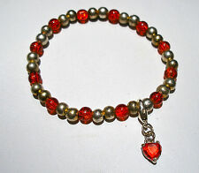 HANDMADE RED CRACKLE GLASS 6mm ROUND BEADED STRETCH HEART CLIP CHARM BRACELET