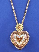 Betsey Johnson Goldtone Yellow Leopard Flower Heart Pendant Long Necklace $65
