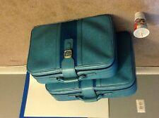 Blue vintage leather suitcase set (2)