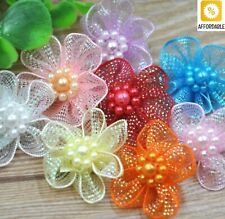 Flowers Bows Organza Ribbon With Beads Appliques Wedding Craft Decorations
