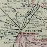 "Vintage 1900 MANITOBA CANADA Map 14""x11"" Old Antique Original BRANDON WINNIPEG"