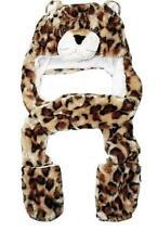 Cheetah Leapard Plush Animal Hat w Winter Scarf Mittens Hand Warmers Gloves
