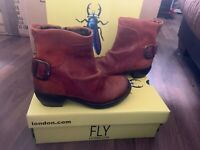 FLY LONDON BROWN LEATHER ANKLE/BOOTS SIZE 3 - EU 36  CUBAN HEEL