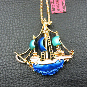 New Blue Enamel Exquisite Dream Sailboat Betsey Johnson Sweater Chain Necklace