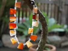 Handmade necklace made of carneloan agate and crystals