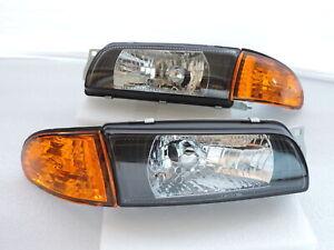 1992~1993~94~1995 Lancer Evo Evolution 1 2 3 Black Headlight Amber Corner Mirage