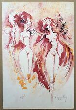 Lithographie Originale Regis Dho Portrait Femmes Nues Rouge Signée Crayon 45/50