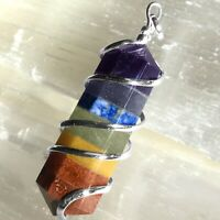 Wire Wrap Rainbow Crystal Pendant Spiral 7 Chakra Necklace Reiki Healing CHARGED