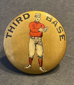 """SCARCE 1890s  BASEBALL 1 1/4""""~THIRD BASE~""""RARE PEORIA ARMS CO"""" PAPER INSERT BACK"""