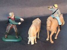 Three Britains Plastic Cow, Cowboy And Bugle Boy On Horse
