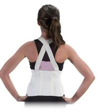 Heavy Lift Back Support Belt & Waist Brace w Adjustable Suspenders, White