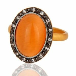 925 Sterling Silver Natural Peach Moonstone Ring Zricon Gold Plated Ring Jewelry