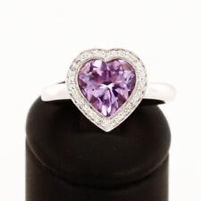 Ring Herz 18 K Weißgold mit Diamanten (ca. 0,16 ct.) und Amethyst