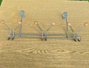 Over the Door Silver 6-Hook Rack with Wood Tips