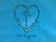 NWT Life is good Surf(Green) Blue Anchor Heart Crusher Scoop Neck T-Shirt Top XS