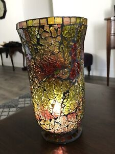 """Beautifully Detailed Mosaic Glass Vase / Candle Holder 10 1/4"""" Tall 5 3/4"""" Dia."""