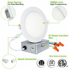 5-6 Inch LED Recessed Light Panel 12W w Junction Box Dimmable Can Lighting J-box