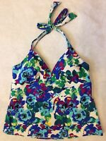 Catalina Womens Halter Tankini Top Sz L 12 14 Blue White Watercolor Floral NEW
