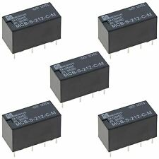 5 x Subminiature 12V Changeover Relay 2A DPDT