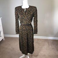 Vintage 80's Virgo II Blouson Rayon Dress Size 6 Smocked Waist Fit Flare Printed
