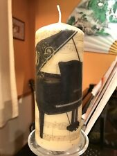 BLACK GRAND PIANO And MUSIC HAND DECORATED PILLAR CANDLE 50hrs 15x6cm
