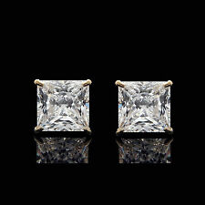 2.50CT Princess Created Diamond Earrings 14K Yellow Gold Solitaire Square Studs