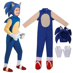 Hedgehog Sonic Cosplay Jumpsuit Costume Party Kids Boys Fancy Dress Stage Props