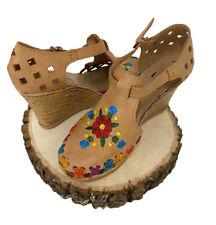 Mujeres Cuero genuino Alpargatas Cuñas Sandalias mexicano con bordado de flores
