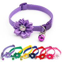 Rhinestone Flower Adjustable Kitten Collar Bell Cat Small Pet Puppy Snap Buckle