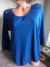 NEU  Esprit Shirt  Blusen-Shirt blau mit superschönem Spitzeneinsatz Größe  S