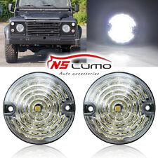 For Land Rover Defender 90/110 83-90 Led Side Marker Light White Clear Lens 2pcs