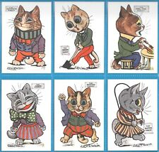 LOUIS WAIN MASCOTS COMPLETE SET OF SIX CAT CARDS BY CRYSTAL CAT CARDS