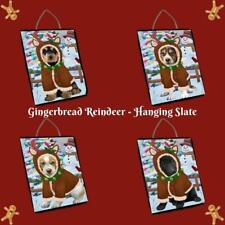 Christmas Gingerbread Reindeer Dog Cat Pet Photo Hanging Slate Wall Decor