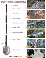 Military Tactical Multi function Shovel Camping Survival Folding Knife Saw Pelle