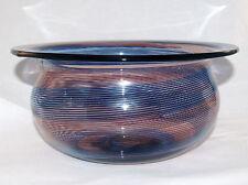 BAROVIER & TOSO SIGNED MURANO ART GLASS BLUE ORANGE OPTIC SWIRL LARGE BOWL