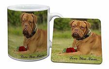 Dog+Red Rose 'Love You Mum' Mug+Coaster Christmas/Birthday Gift Id, AD-DB2RlymMC