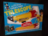RARE 1980'S DISNEY'S MICKEY MOUSE CHILD'S FIRST TELESCOPE TOY W/ ORIGINAL BOX